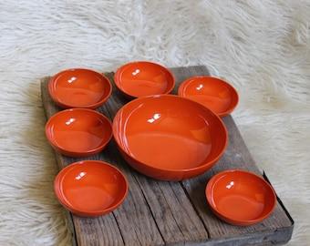 Bowls Bowl set 70's orange space age plastic 7 piece Ø150mm and 85mm