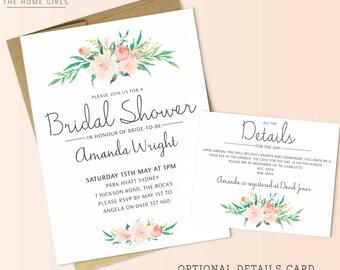 Printable Floral Bridal Shower Invitation / Kitchen Tea / Bachelorette / Wedding / Engagement / Baby Shower / Birthday / Blush / Flowers