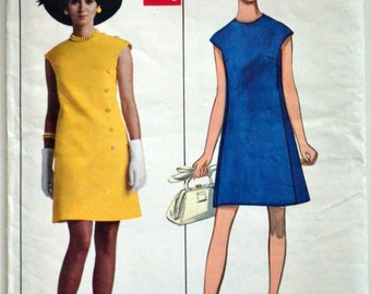 Uncut 1960s Butterick Vintage Sewing Pattern 5272, Size 12; One-Piece Dress