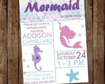 Mermaid Birthday Inviation | Girls Birthday Party Invitation | Mermaid | A Little Mermaid | Fairytale | Printable | Customizable