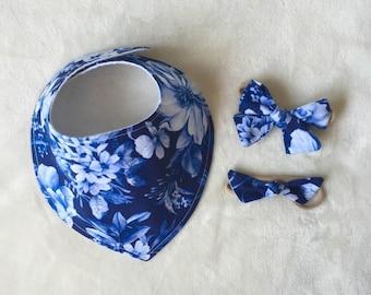 Victorian Blue - Petite Bib | Luna knot & Marcy Bow
