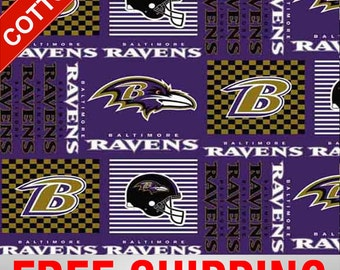"""Baltimore Ravens NFL Cotton Fabric. Style BAL-6435 60"""" Wide. Free Shipping!!"""