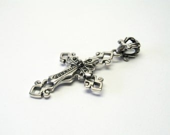 Large cross pendant Onyx Silver 925