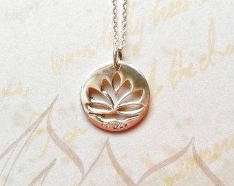Sterling Silver Lotus Necklace Solid Silver Lotus Pendant Buddhist Jewellery