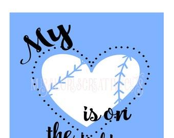 My heart belongs on the field  SVG Cut file  Cricut explore file Baseball  t-shirt design
