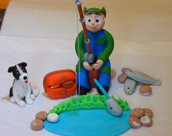 Fishing Fisherman whit Dog Edible sugar paste cake topper decoration birthday party