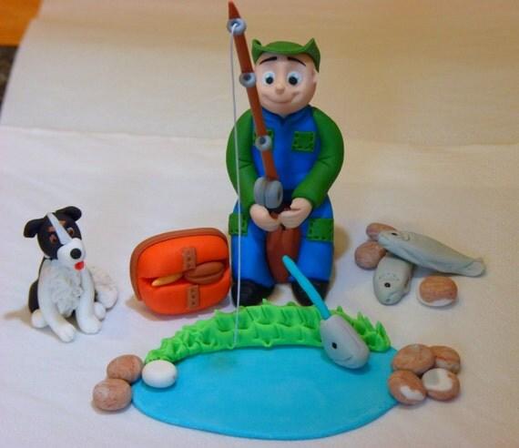 Fishing Cake Decorations Uk : Fishing Fisherman whit Dog Edible sugar paste cake topper