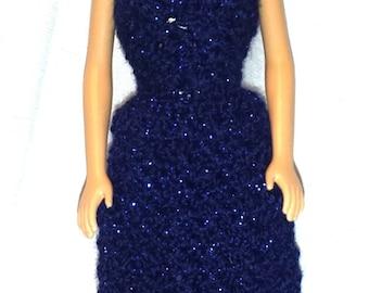 Crochet Barbie Clothes, Fashion Doll Dress Evening Gown, Barbie Doll Navy Blue Dress
