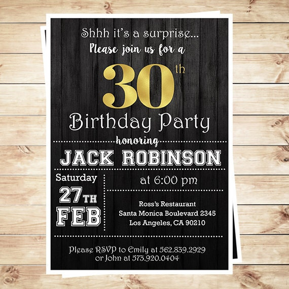 30th Birthday Surprise Party Gold Black Mens 30th Birthday – 30th Birthday Party Invitation