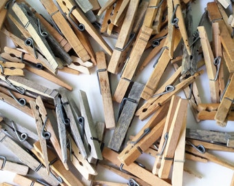 Old Wood Clothes Pins Clothes Clips Instant Collection
