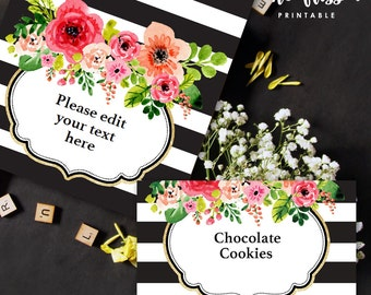 Black and Gold Stripe Flower Food Label | Tents Card | Editable PDF File | Instant Download | Personalize at home with Adobe Reader