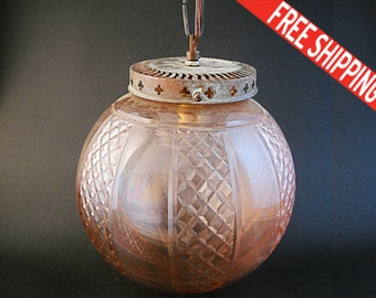 ON SALE - Vintage Hanging Pendant Light made by High Quality Taille Glass, FREE Shipping Worldwide