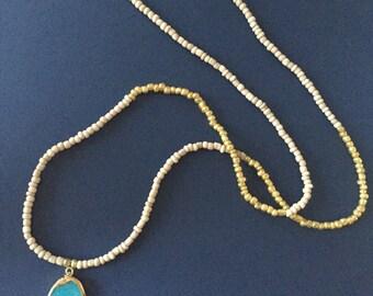 Aqua Pendant Seed Bead Necklace