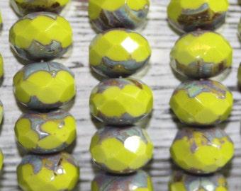 Czech Glass Rondells, 8x6mm, 25 Beads