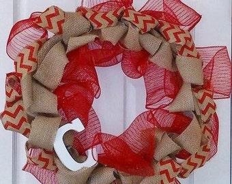 Red Cheveron Burlap Wreath