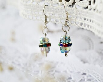 Blue crystal earrings, Delicate earrings, crystal bridesmaid earrings, minimalist earrings, blue czech glass earrings
