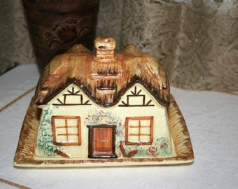 1920s Keele St. Pottery England//Rectangular Covered Butter//Cottage Style Butter Dish//Vintage Covered Butter Dish