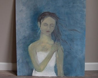 Original oil painting, girl on blue background