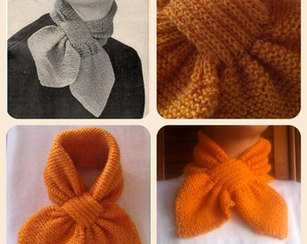 1940s Ascot Scarf - Knitted Scarves - Vintage Scarves