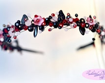 Black and pink crystal crown.  Czech glass and crystal. Tiara of beads. Stylized floral Hair Accessory. Crystal Headband