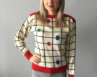 Vintage 1980's Boatneck Checkered Sweater