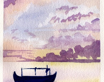 """Watercolour painting - A5 """"Calm waters"""""""