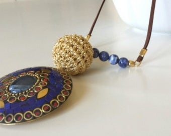 Boho necklace, Ethnic Sodalite crochet necklace, statement necklace, Indian long necklace with pendant and natural sodalite