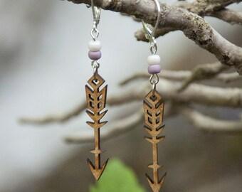 Earrings wooden WOODEARZ arrow