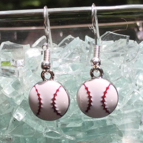 Baseball Antique Silver Enameled Earrings