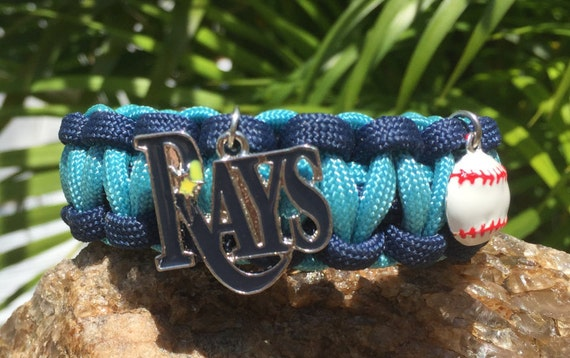 Paracord Bracelet,Tampa Bay Rays charmed, with a stainless steel silver metal buckle