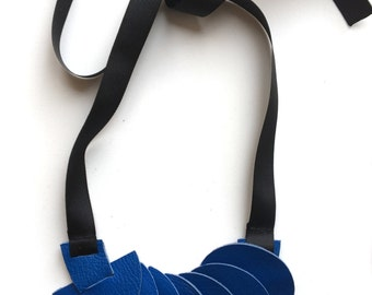 Statement Blue leather necklace