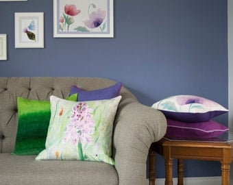 Purple and Green Wild Orchid Watercolour Cushion Linen Square 45x45cm Curled Duck Feather Pad Digitally Printed UK Designed & Made