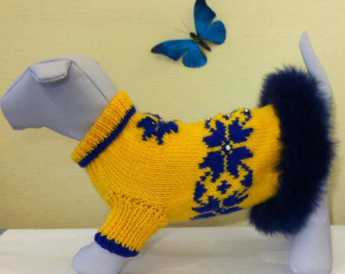 Knit Handmade Sweater For Dog. Pet Clothing. Knitted Pet Clothes. Winter Tale Sweater For Dog. Size L
