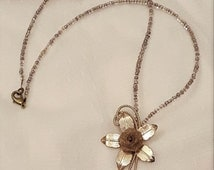 Upcycled Gold Flower Pendant Glass Seed Beaded Necklace