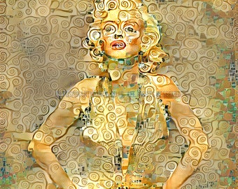 Marilyn Monroe Print in Klimt Style – Modern Digital Art Print - Available in Different Sizes