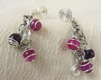 "Playful Pink Agate Earrings- ""Pinkie Pins"""