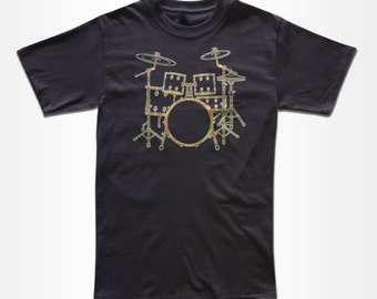 Neon Drumset T Shirt - Drums - Drummer Tee - Retro Tees for Men, Women & Children (All Colors)