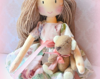 Doll rag doll Asya handmade doll doll bear doll for gift and decoration.