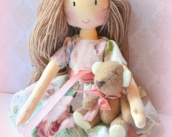 Doll rag doll Asya handmade doll doll bear doll for gift and decoration.