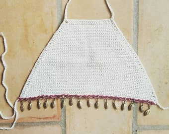 Cream Crochet halter top with Upcycled Festival trim - ONE OF A KIND