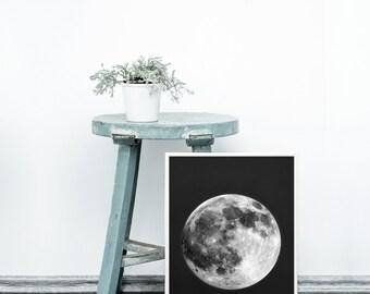 Moon print - Scandinavian printable art - Scandinavian modern print - Full moon art print - Digital art - Lunar poster - Black background