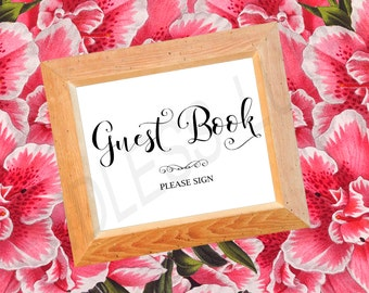 Wedding Guest Book Sign - Guest Book Sign - Guest Book Wedding Sign - Wedding Signs - Wedding Reception Signs - Guest Book Please Sign