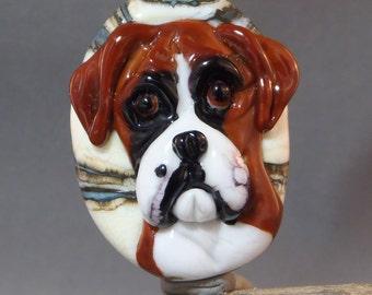 Boxer Dog Focal Lampwork Bead