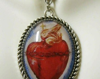 Sacred Heart of Jesus by Rey Montez pendant with FREE gift box& FREE shipping