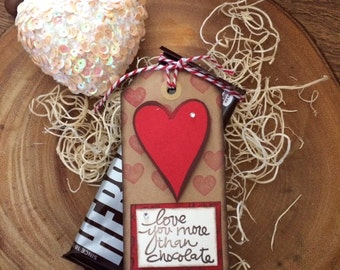 Love you more than chocolate brown tag with hearts (10 for 10.00)