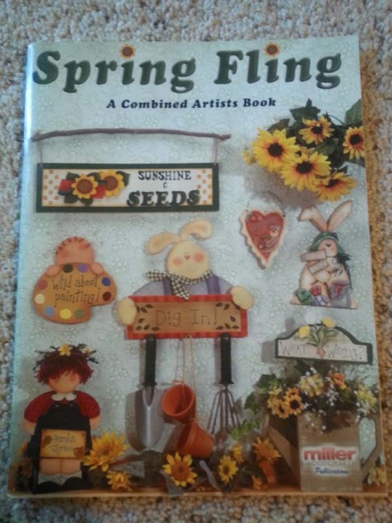 spring fling tole paint arts and crafts pattern book wood