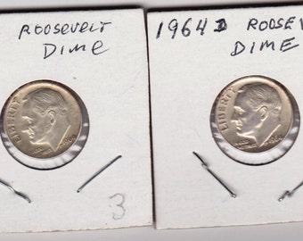 1964-D Roosevelt Silver Dimes