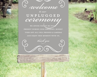"Unplugged Wedding Sign | Instant Download | Wedding Signs Swirls| Poster Size 24""x30"" 