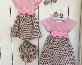 Dress for baby girl women in cream and pinks mommy and me Matching dresses sisters fsmily match outfit boy girl children matches father son