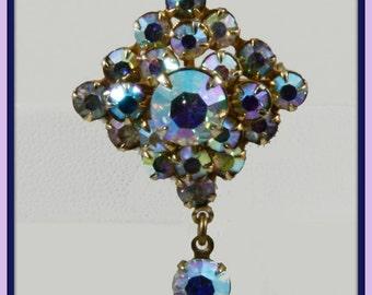 Vintage Aurora Borealis Rhinestone Scatter Pin,Vintage Scatter Pin,Vintage Rhinestone Scatter Pin,Vintage Rhinestone Brooch,Vintage Brooch